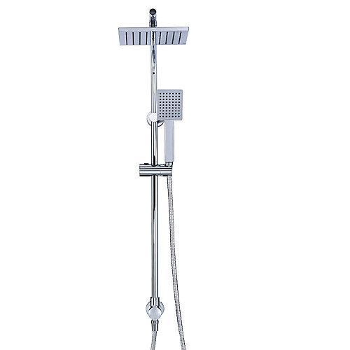 Wall Bar Handheld Shower and Rain Showerhead Kit in Chrome