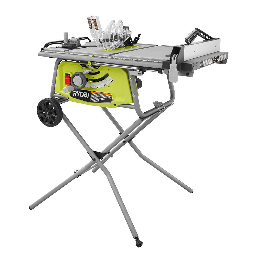 Ryobi 10 Inch 15 Amp Table Saw With Rolling Stand The Home Depot Canada
