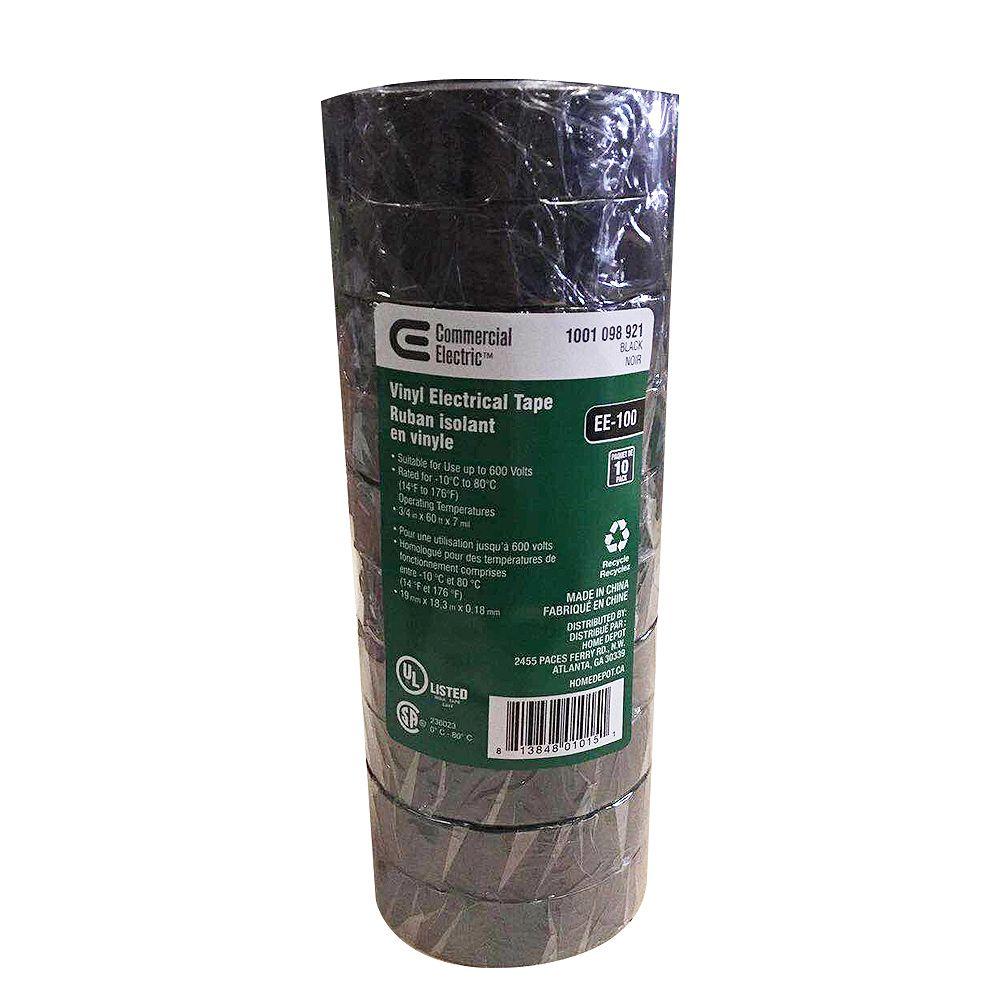 Commercial Electric Ruban isolant en vinyle, noir, 3/4 po x 60 po (paquet de 10)