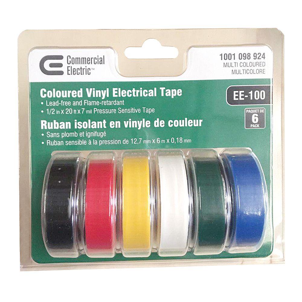 Commercial Electric Ruban isolant en vinyle, multicolore, 1/2 po x 20 pi (paquet de 6)