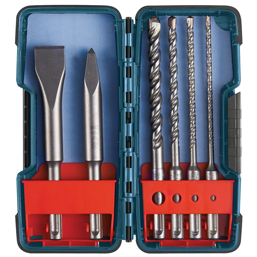 "Bosch 6-Piece SDS-plus Bulldog"""" Rotary Hammer Bit Set"