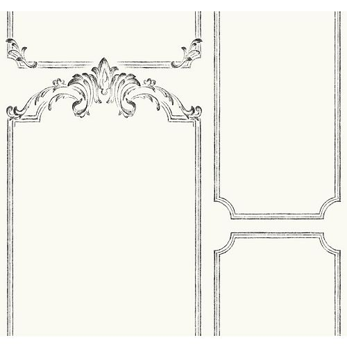 Magnolia Home 60.75 sq. ft French Panel White Removable Wallpaper