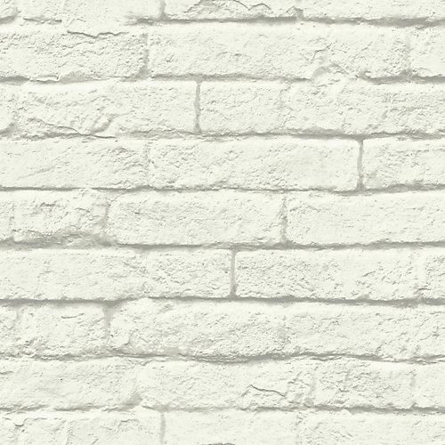 Magnolia Home Brique-et-mortier - Blanc - Papier peint amovible