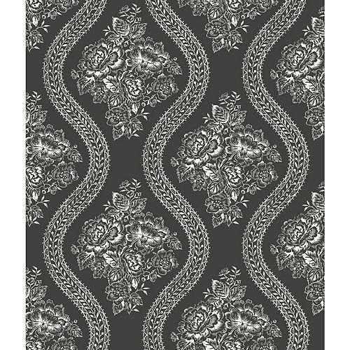 Joanna Gaines Magnolia Home 56 sq. ft Coverlet Floral White/Black Removable Wallpaper