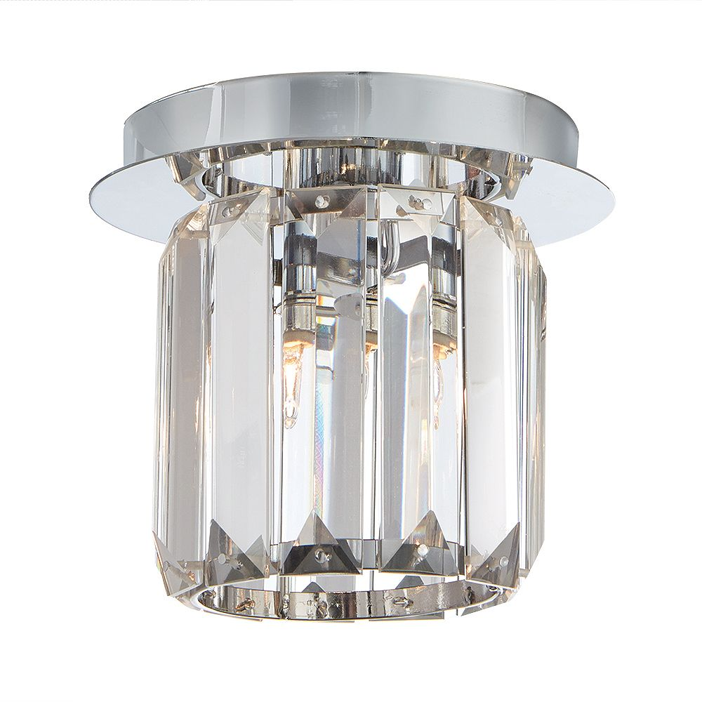 Home Decorators Collection Miette 1 Light Chrome Flushmount Ceiling Light With Crystal Sha The Home Depot Canada