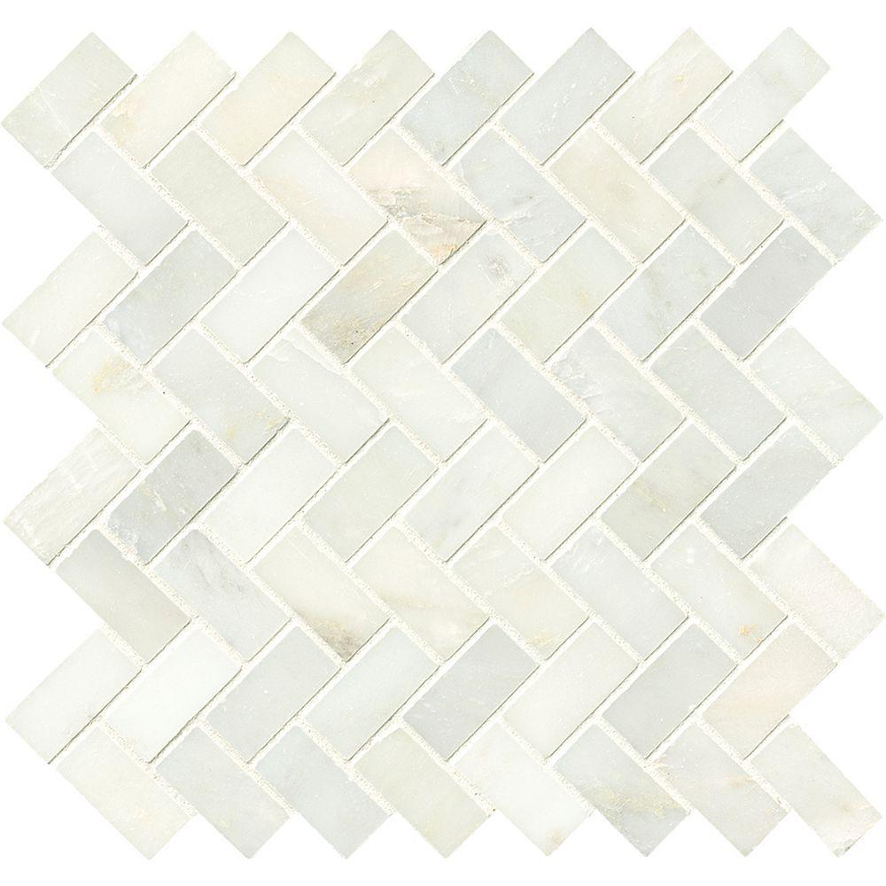 MSI Stone ULC Cascade Blanco Herringbone 11.63-inch x 11.63-inch x 10 mm Polished Marble Mesh-Mounted Mosaic Tile