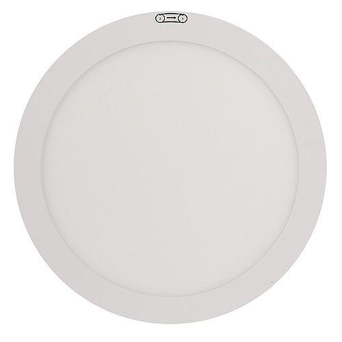 Plafonnier à panneau plat rond à encastrer blanc au DEL intégré de 11pouces, bord allumé, 12.5 watts
