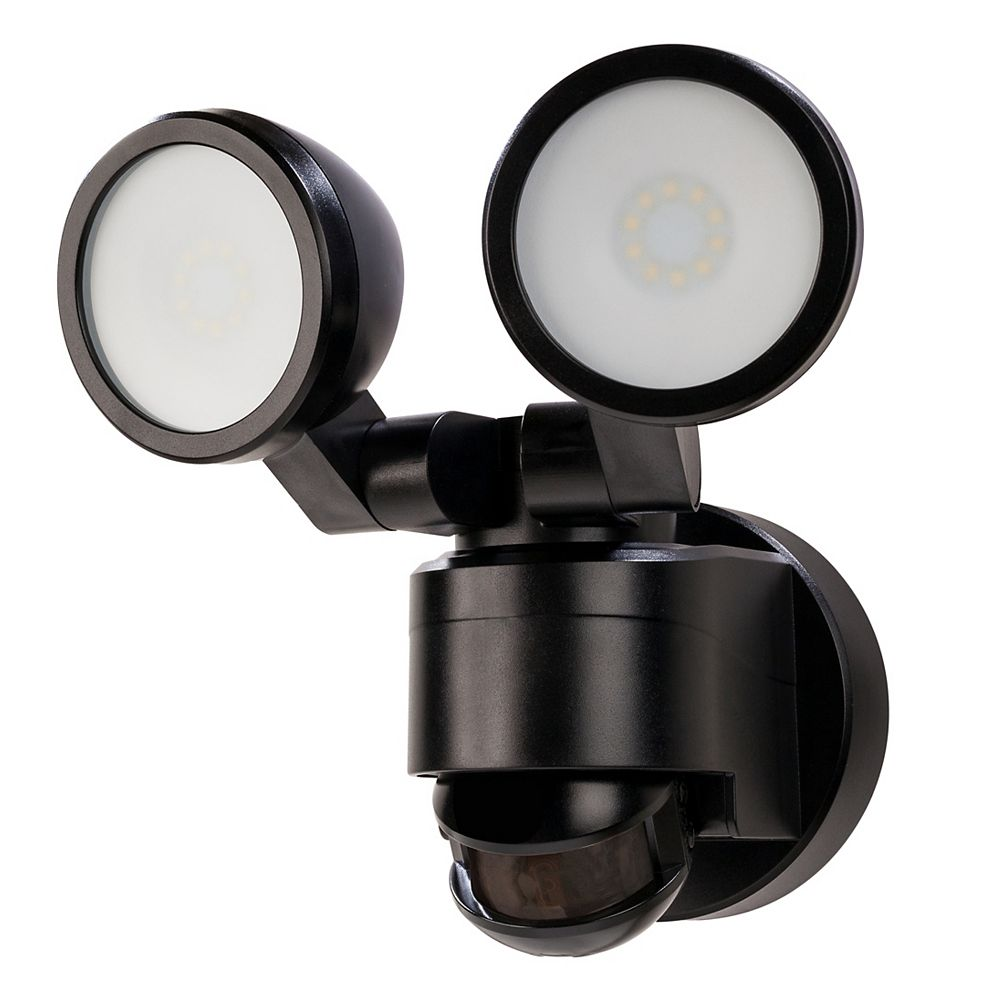 Defiant 180 Degree Black Motion Activated Outdoor Integrated LED Twin Head Flood Light