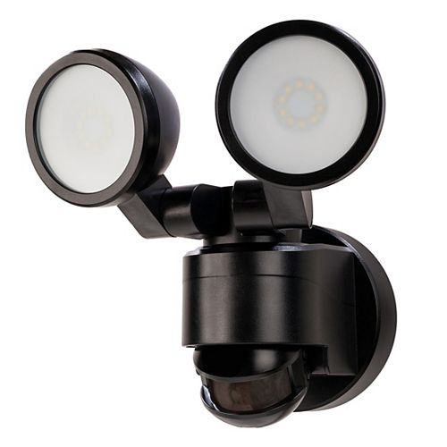 180 Degree Motion Activated Outdoor Integrated LED Twin Head Flood Light in Black