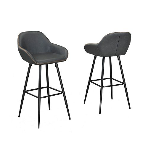 Fresno 26' Bar Stool, (Set of 2), Vintage Grey