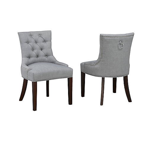 Accent Chair with Nail-Head Trim, (Set of 2), Grey