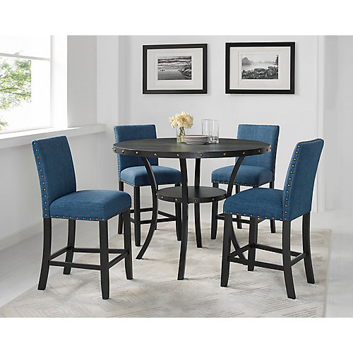 Indira 5-Piece Pub Set, Table + 4 Stools, Blue