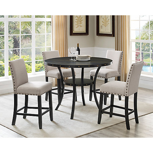 Indira 5-Piece Pub Set, Table + 4 Stools, Beige