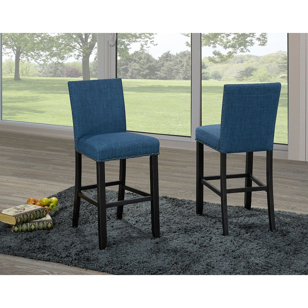 Brassex Inc. Indira 24' Bar Stool with Nail-Head Trim in Blue (Set of 2)