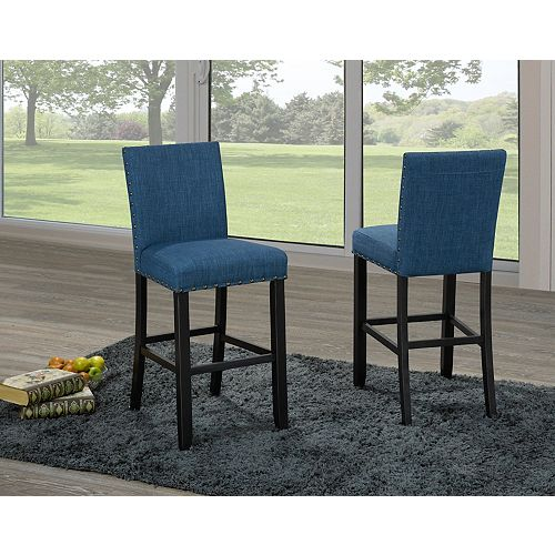 Indira 24' Bar Stool with Nail-Head Trim in Blue (Set of 2)