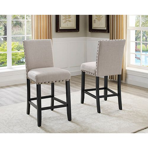 Indira 24' Bar Stool with Nail-Head Trim in Beige (Set of 2)