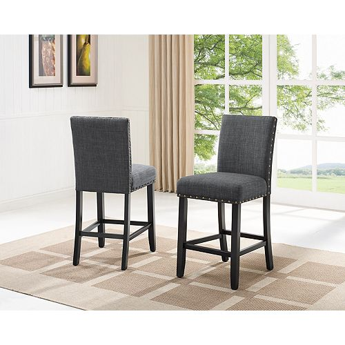 Indira 24' Bar Stool with Nail-Head Trim in Grey (Set of 2)