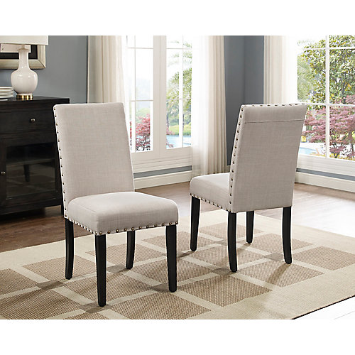 Indira Dining Chairl with Nail-Head Trim in Beige (Set of 2)