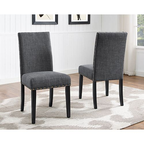 Indira Dining Chair with Nail-Head Trim in Grey (Set of 2)