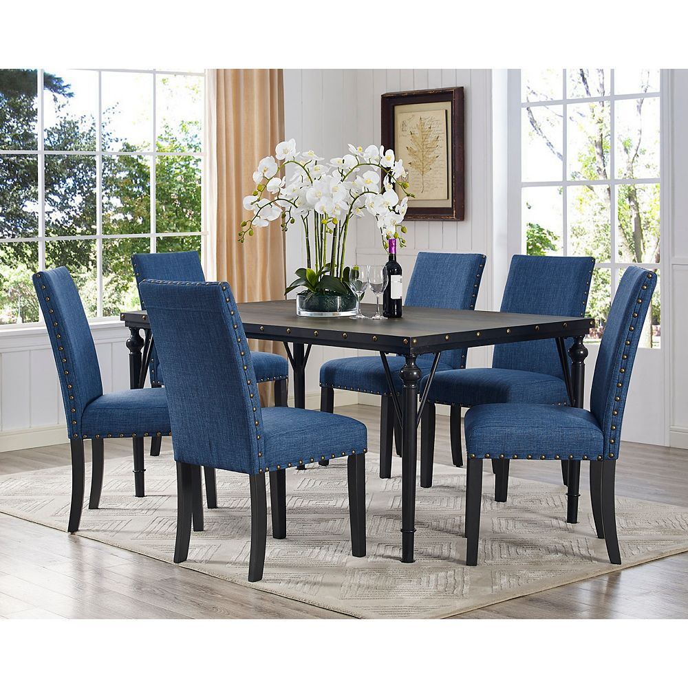 Arianna 9 Piece Dining Set, Table + 9 Chairs, Blue