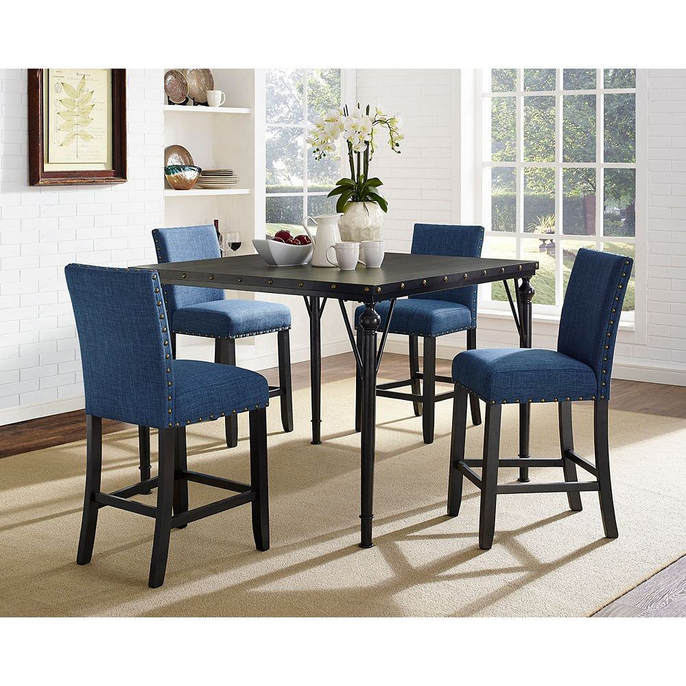 Brassex Inc. Arianna 5-Piece Pub Set, Table + 4 Stools, Blue