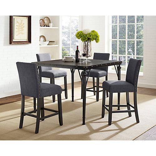 Arianna 5-Piece Pub Set, Table + 4 Stools, Grey