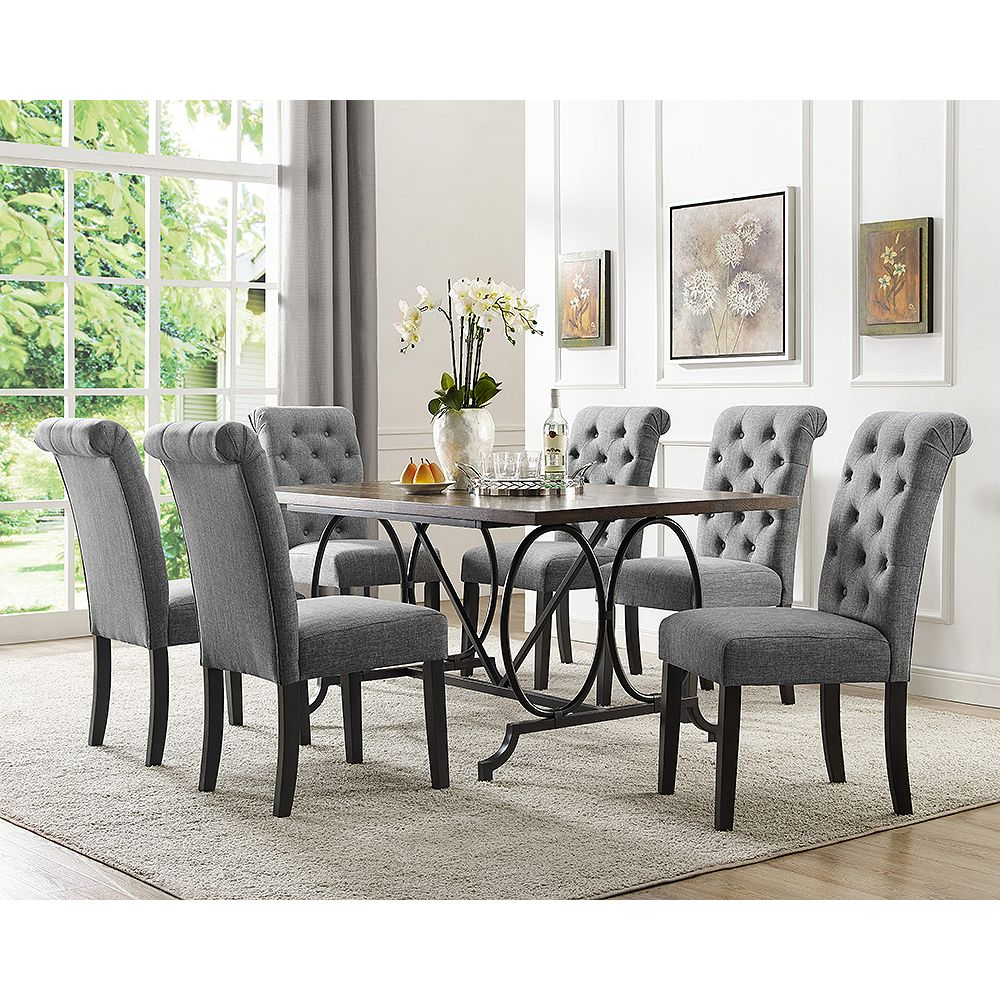 Soho 9 Piece Dining Set, Table + 9 Chairs, Grey
