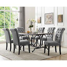 Set de salle à manger 7 pièces Indira, table + 6 chaises, Gris