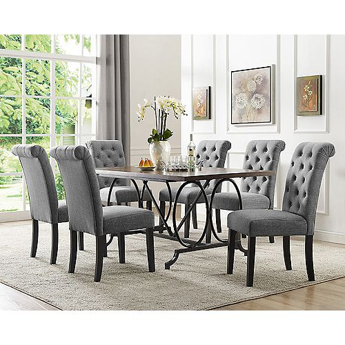 Soho 7-Piece Dining Set, Table + 6 Chairs, Grey