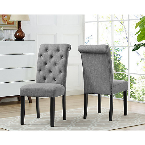 Soho Tufted Dining Chair in Grey (Set of 2)
