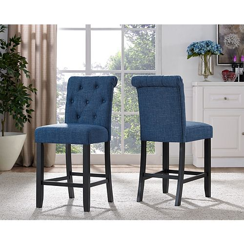 Soho Tufted 24' Bar Stool in Blue (Set of 2)