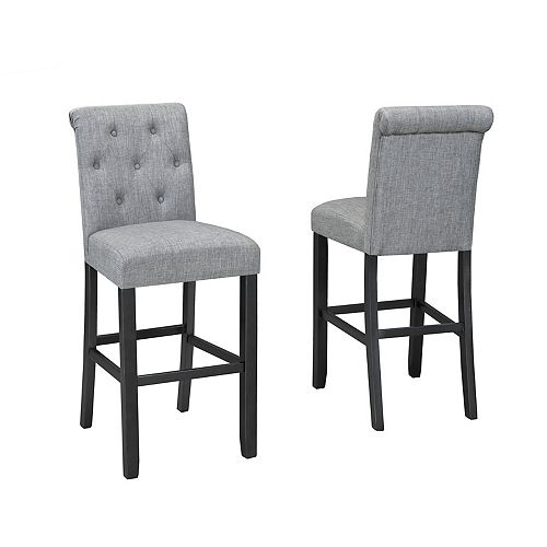 Soho Tufted 29' Bar Stool in Grey (Set of 2)
