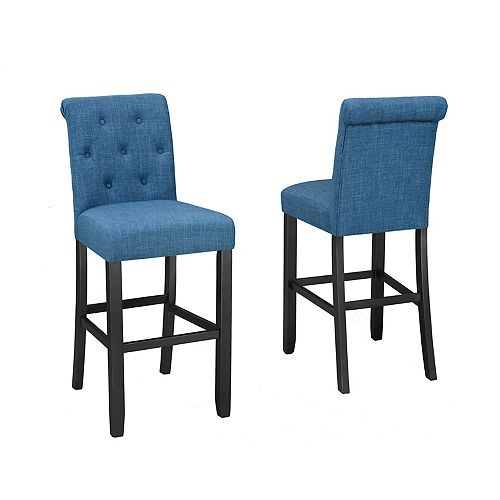 Soho Tufted 29' Bar Stool in Blue (Set of 2)