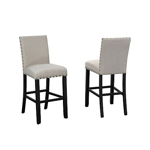 Indira 29' Bar Stool with Nail-Head Trim in Beige (Set of 2)