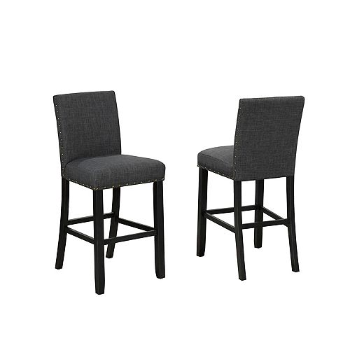 Indira 29' Bar Stool with Nail-Head Trim in Grey (Set of 2)