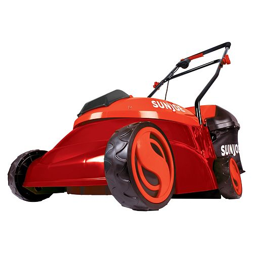 Sun Joe 14-inch 28V 5 Ah Cordless Brushless Lawn Mower in Red