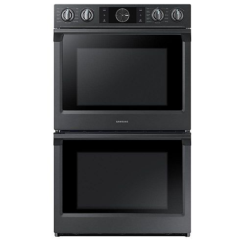 Samsung 30-inch 5.1 cu.ft Double Wall Oven Electric Range with Dual Convection in Black Stainless Steel