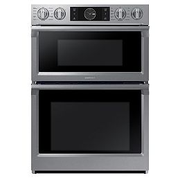 30-inch 5.1 cu. ft. Double Electric Wall Oven with Built-in Microwave in Stainless Steel