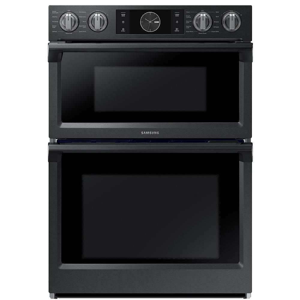 Samsung 30-inch 5.1 cu. ft. Double Electric Wall Oven with Built-in Microwave in Black Stainless Steel