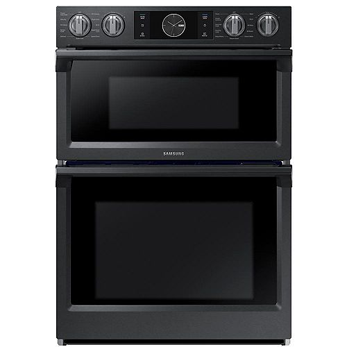 30-inch 5.1 cu. ft. Double Electric Wall Oven with Built-in Microwave in Black Stainless Steel