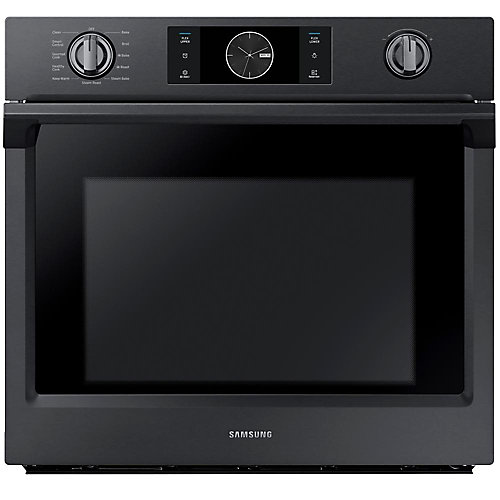 30-inch Single Electric Wall Oven with Dual Convection in Black Stainless Steel