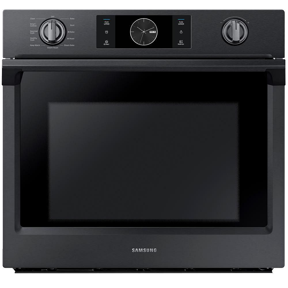 Samsung 30-inch 5.1 cu.ft Single Electric Wall Oven with Dual Convection in Black Stainless Steel