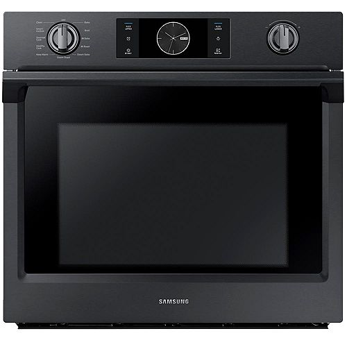 30-inch 5.1 cu.ft Single Electric Wall Oven with Dual Convection in Black Stainless Steel