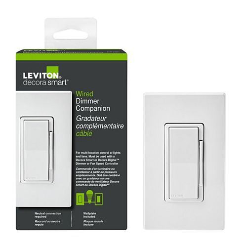 Decora Smart Dual Voltage Matching Dimmer Remote for use with Decora Smart Dimmers in 3-way - White
