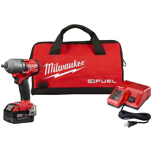 M18 FUEL 18V Li-Ion Brushless 1/2 inch Mid-Torque Impact Wrench W/ Pin Detent Kit W/ 5.0Ah Battery