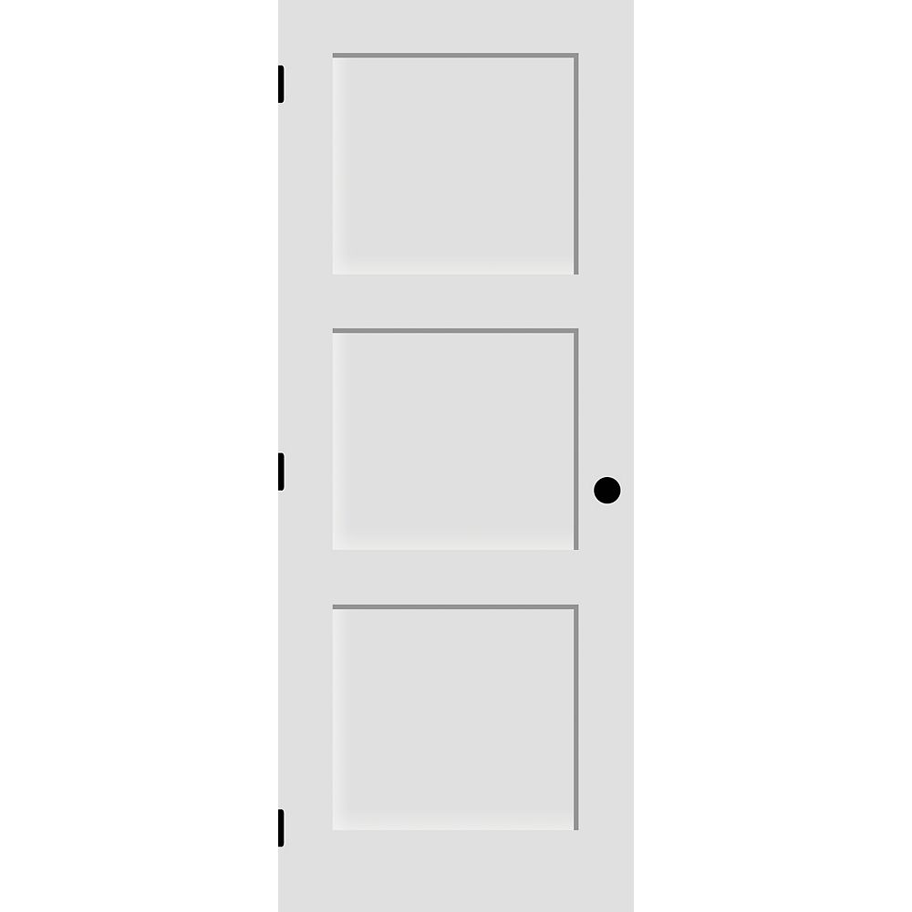 Milette 30-inch x 80-inch Primed 3-Panel Shaker Style Door Machined