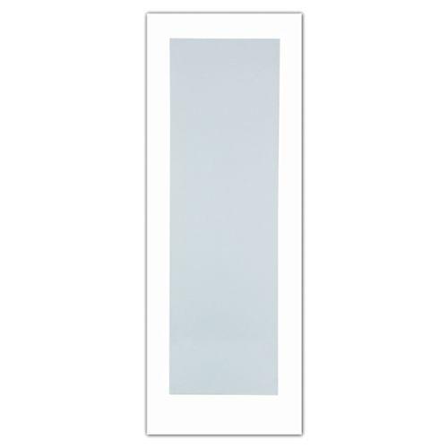 28x80 Porte de style Art Déco 1 verre Laminé Blanc en Apprêt blanc