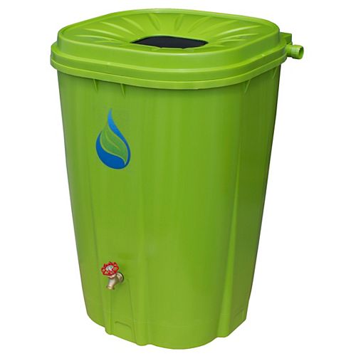 55 Gal. Green Rain Barrel with Brass Spigot and Rain Barrel Kit