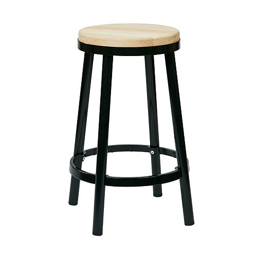 "Bristow 26"" Barstool with Wood Seat, Black"