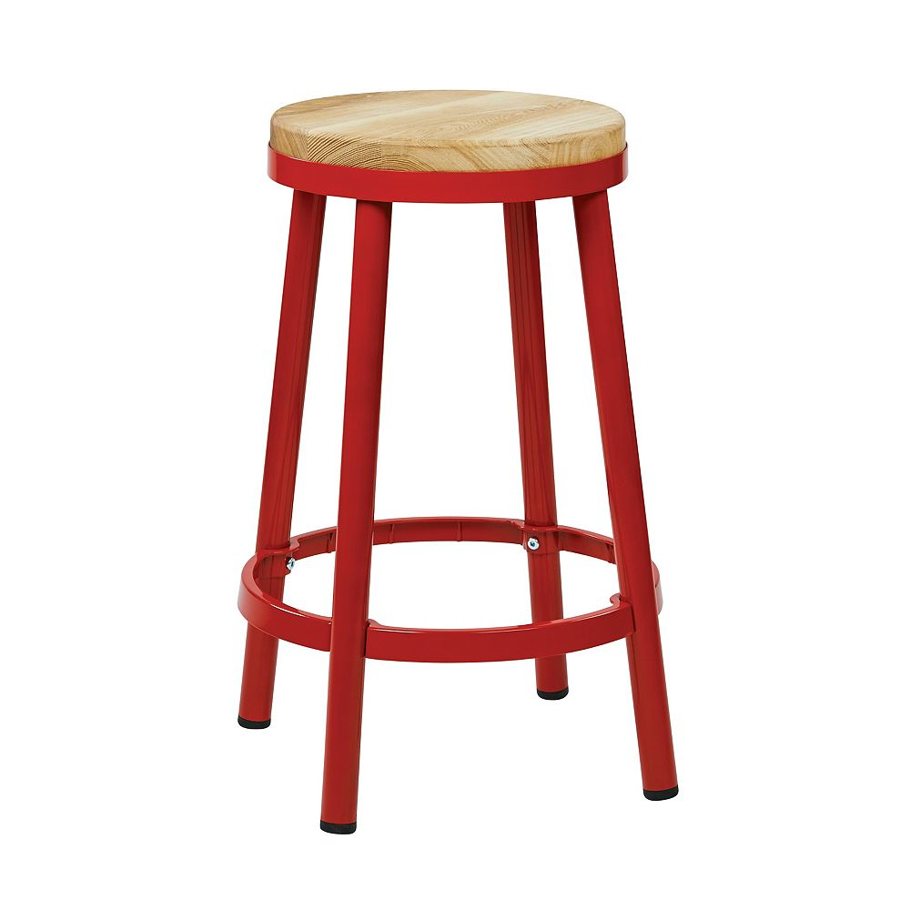 """OSP Designs Bristow 26"""" Barstool with Wood Seat, Red"""